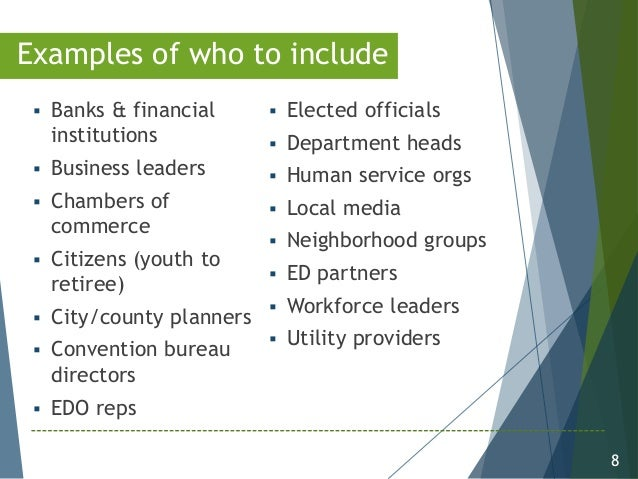 8 Examples of who to include  Banks & financial institutions  Business leaders  Chambers of commerce  Citizens (youth ...