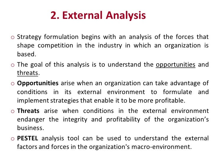 External environment and organizations strategy