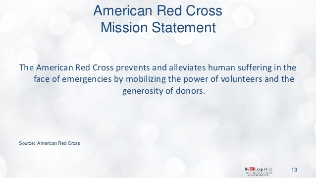 American Red Cross Mission Statement  The American Red Cross prevents and alleviates human suffering in the face of emerge...