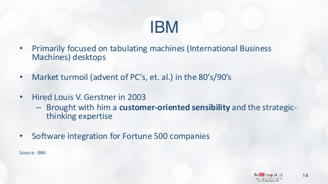 IBM  •Primarily focused on tabulating machines (International Business Machines) desktops  •Market turmoil (advent of PC's...