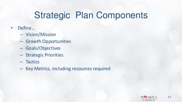 Strategic Plan Components  •Define…  –Vision/Mission  –Growth Opportunities  –Goals/Objectives  –Strategic Priorities  –Ta...