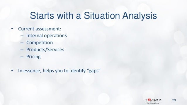 Starts with a Situation Analysis  •Current assessment:  –Internal operations  –Competition  –Products/Services  –Pricing  ...