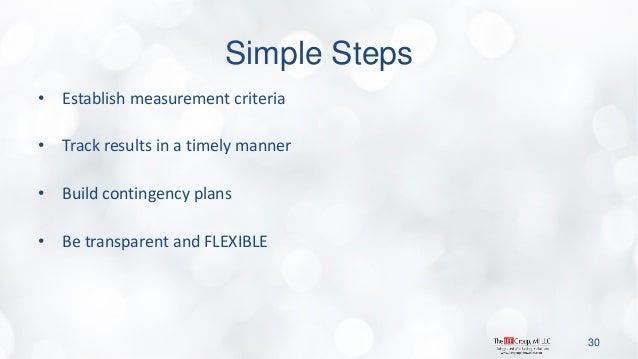 Simple Steps  •Establish measurement criteria  •Track results in a timely manner  •Build contingency plans  •Be transparen...