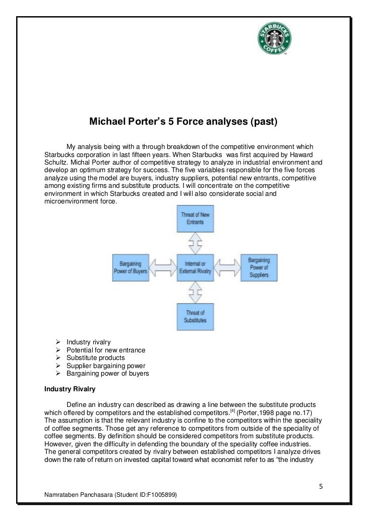 5 forces for starbucks Porters five forces for starbucks - download as pdf file (pdf), text file (txt) or  read online porters five forces study of starbucks.