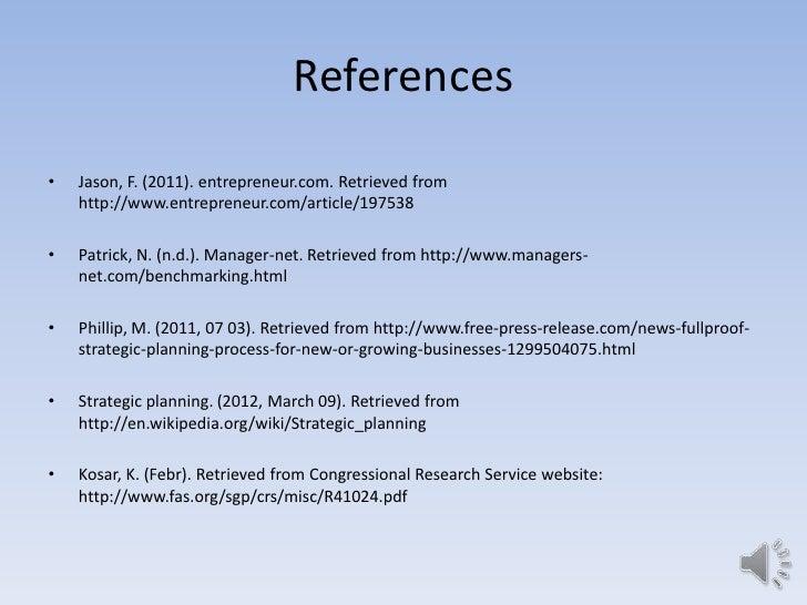 References•   Jason, F. (2011). entrepreneur.com. Retrieved from    http://www.entrepreneur.com/article/197538•   Patrick,...