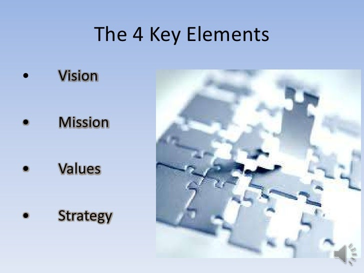 The 4 Key Elements•   Vision•   Mission•   Values•   Strategy