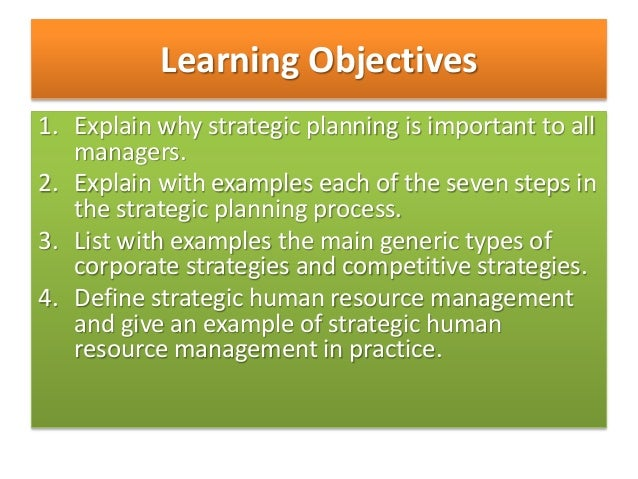 Strategic planning process and human resource management