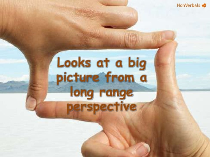 NonVerbals_<br />Looks at a big picture from a long range perspective<br />