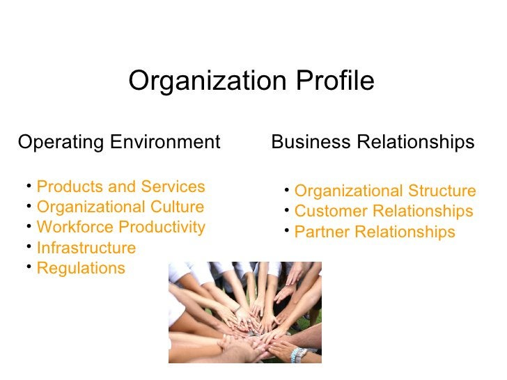 Organization Profile  Operating Environment      Business Relationships  • Products and Services     • Organizational Stru...
