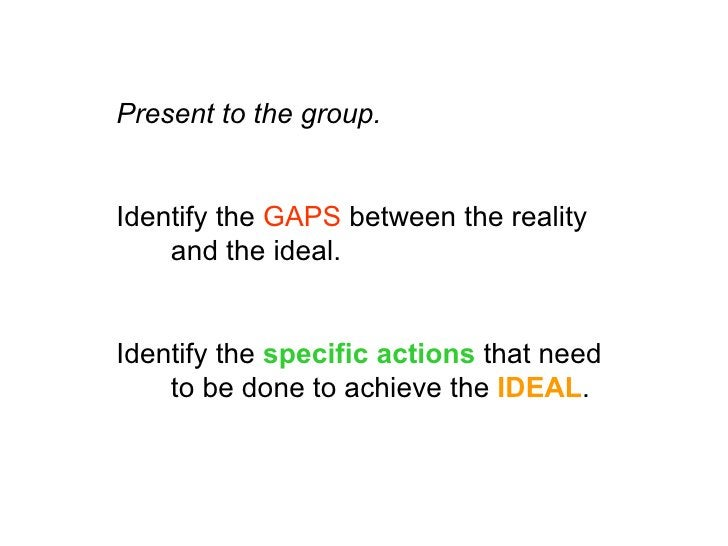 Present to the group.   Identify the GAPS between the reality     and the ideal.   Identify the specific actions that need...