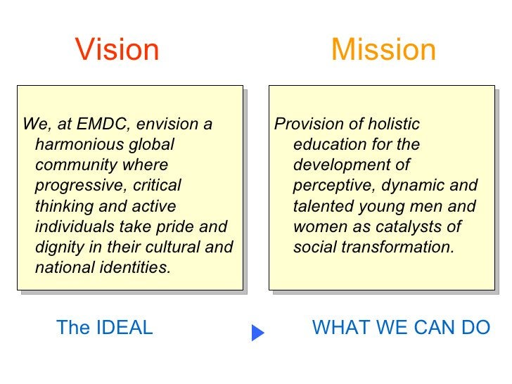 Vision                          Mission  We, at EMDC, envision a          Provision of holistic  harmonious global        ...