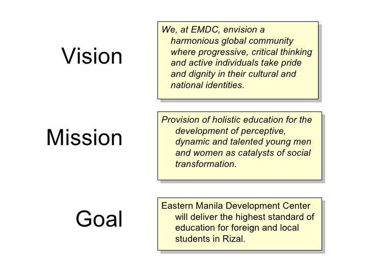 We, at EMDC, envision a            harmonious global community   Vision    where progressive, critical thinking           ...