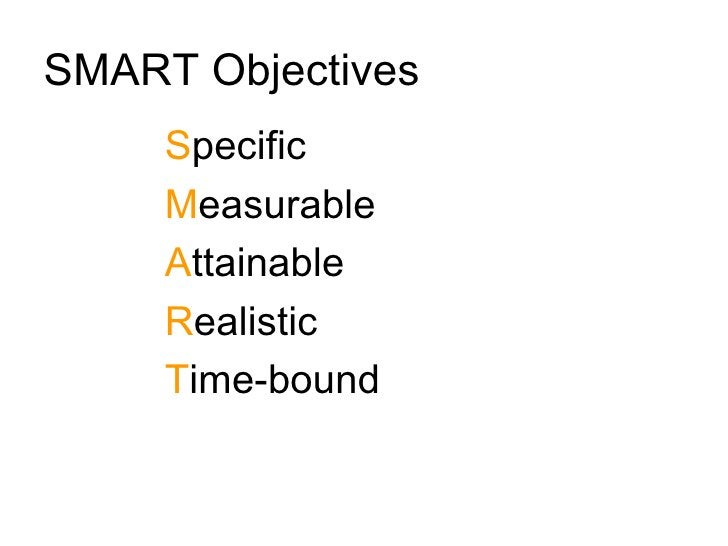 SMART Objectives      Specific      Measurable      Attainable      Realistic      Time-bound