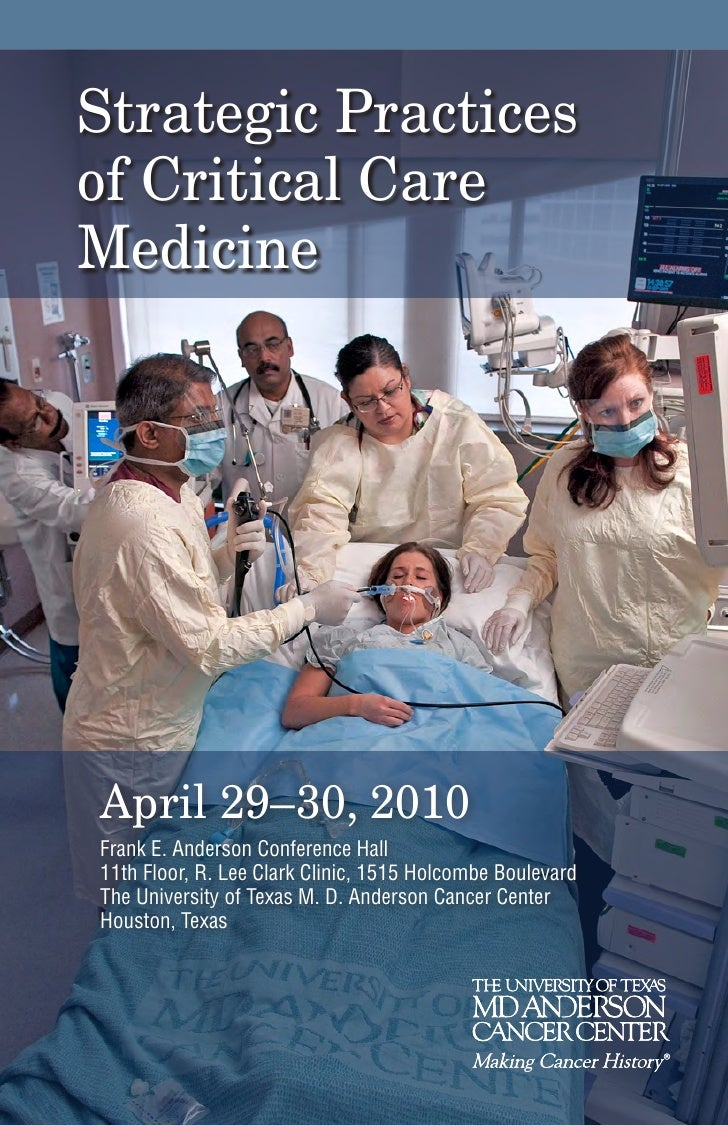 Strategic Practices of Critical Care Medicine     April 29–30, 2010 Frank E. Anderson Conference Hall 11th Floor, R. Lee C...