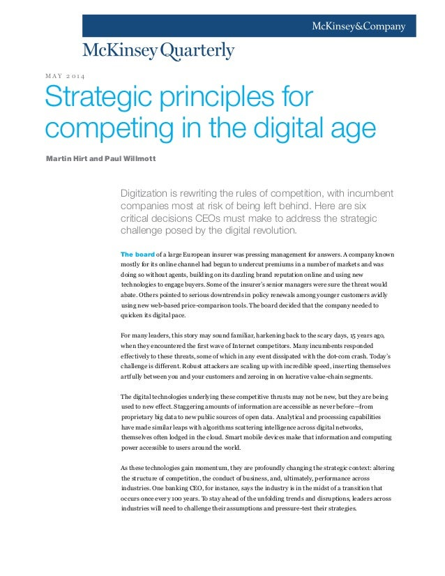 Digitization is rewriting the rules of competition, with incumbent companies most at risk of being left behind. Here are s...