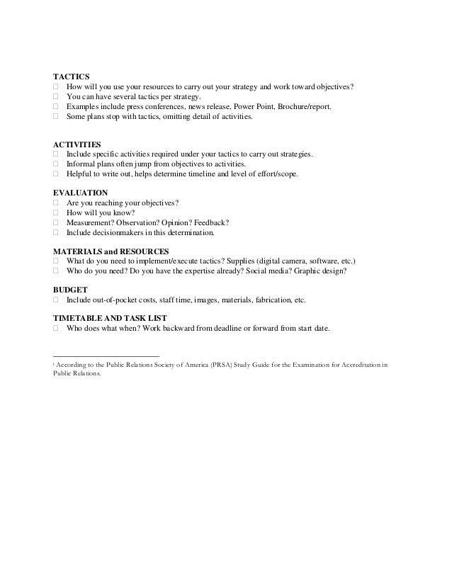 public relations planning model