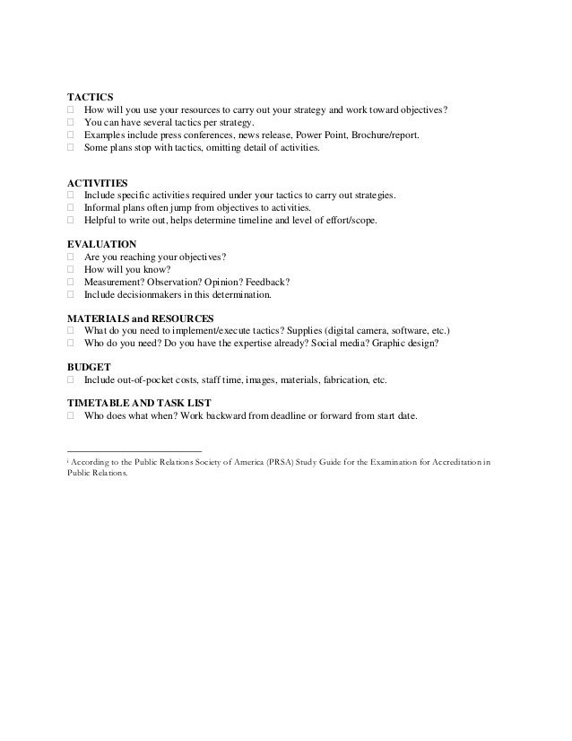 Strategic public relations plan checklist 2 altavistaventures Image collections