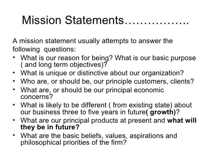 Purpose of a mission statement and a vision statement