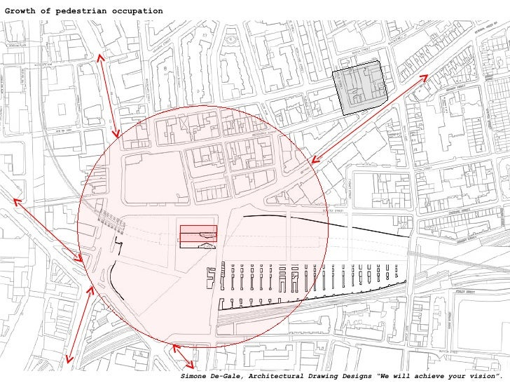 """Growth of pedestrian occupation Simone De-Gale, Architectural Drawing Designs """"We will achieve your vision""""."""
