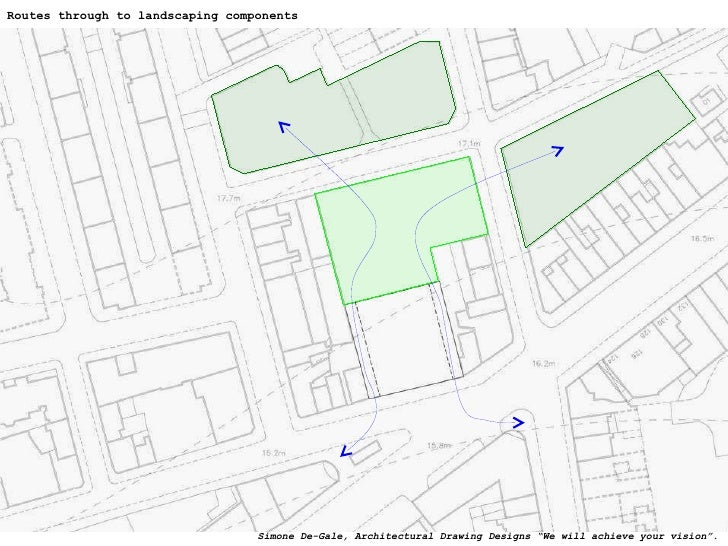 """Routes through to landscaping components Simone De-Gale, Architectural Drawing Designs """"We will achieve your vision""""."""