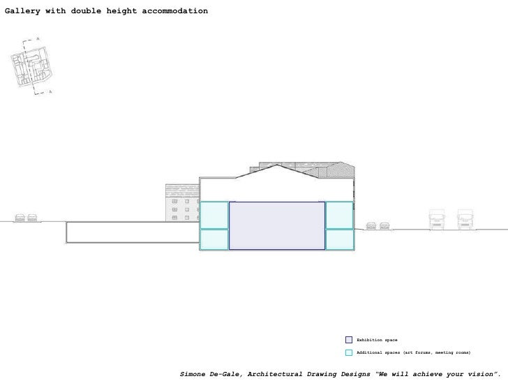 Gallery with double height accommodation Exhibition space Additional spaces (art forums, meeting rooms) Simone De-Gale, Ar...