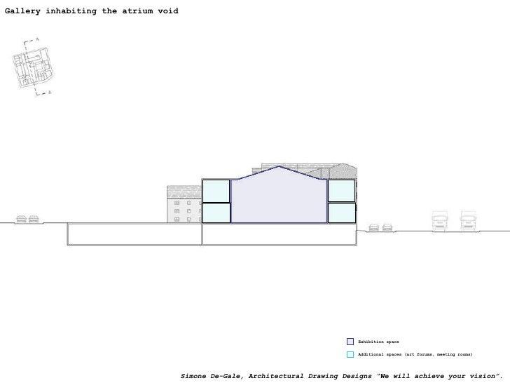 Gallery inhabiting the atrium void Exhibition space Additional spaces (art forums, meeting rooms) Simone De-Gale, Architec...