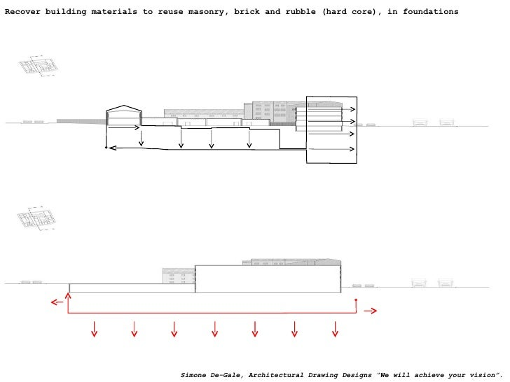 Recover building materials to reuse masonry, brick and rubble (hard core), in foundations Simone De-Gale, Architectural Dr...