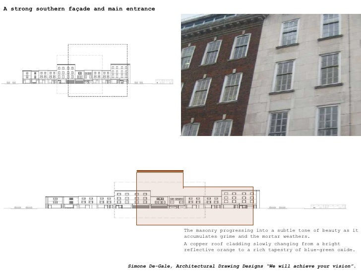A strong south façade and main entrance A strong southern façade and main entrance The masonry progressing into a subtle t...