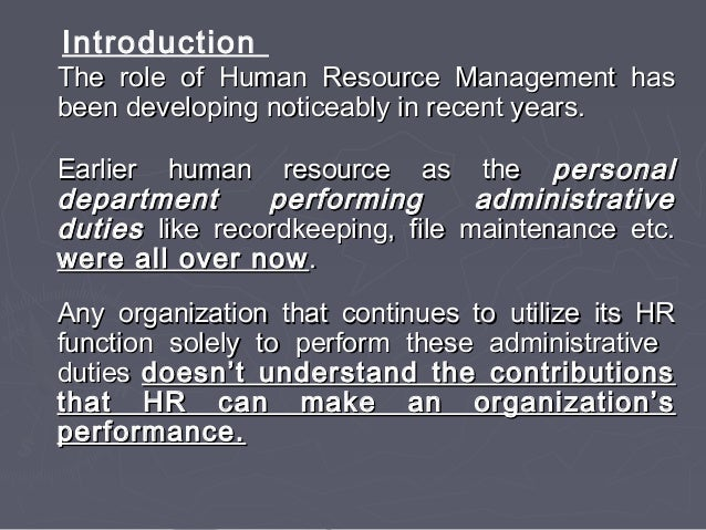 strategic role of human resource management essay Strategic human resource management (shrm) essay explains the transition of human term it this remains to be seen whether the strategic management of human.
