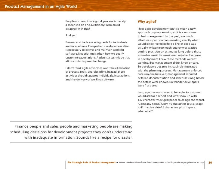 Product Management in an Agile World                                    People and results are good; process is merely    ...
