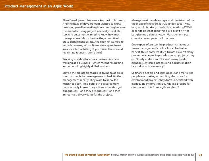 Product Management in an Agile World                                 Then Development became a key part of business.      ...