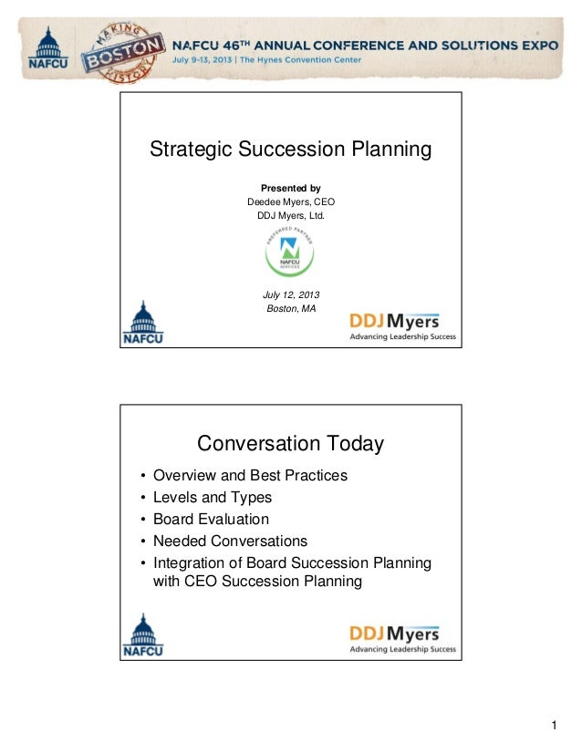 Strategic Succession Planning Presented by Deedee Myers, CEO DDJ Myers, Ltd.  July 12, 2013 Boston, MA  Conversation Today...