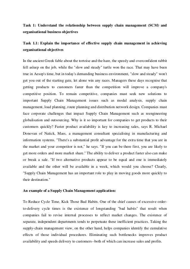 strategic supply chain management 3 task 1 understand the relationship between supply chain management