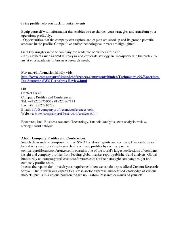Strategic Swot Analysis Report On Epocrates Inc