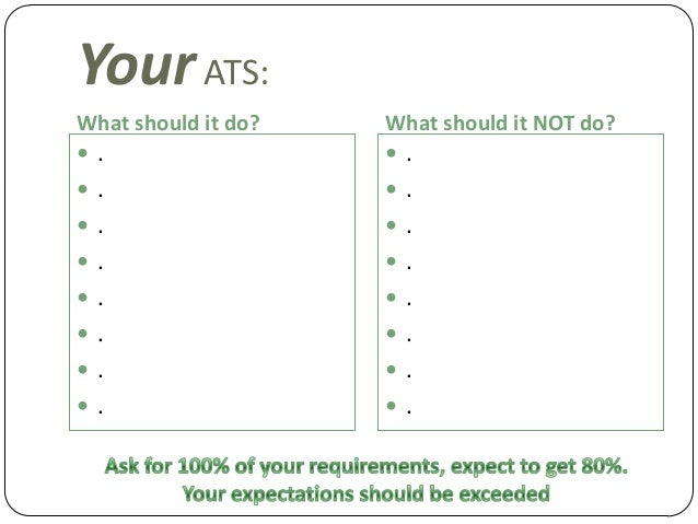Your ATS: What should it do?  What should it NOT do?   .   .   .   .   .   .   .   .   .   .   .   .   .   ....