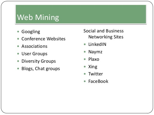 Web Mining  Googling  Conference Websites  Associations  User Groups  Diversity Groups  Blogs, Chat groups  Social a...