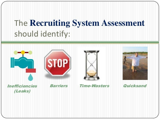 The Recruiting System Assessment should identify:  Inefficiencies (Leaks)  Barriers  Time-Wasters  Quicksand