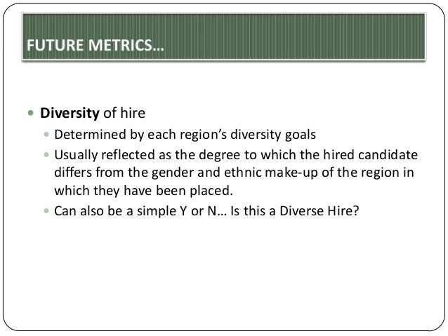  Diversity of hire  Determined by each region's diversity goals  Usually reflected as the degree to which the hired can...