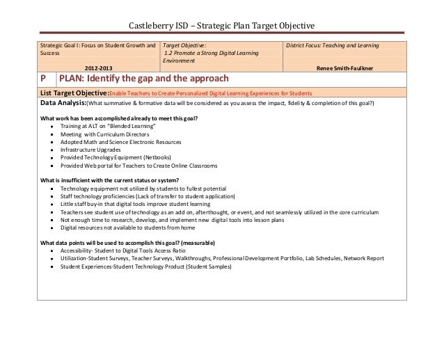 Castleberry ISD – Strategic Plan Target ObjectiveStrategic Goal I: Focus on Student Growth and   Target Objective:        ...