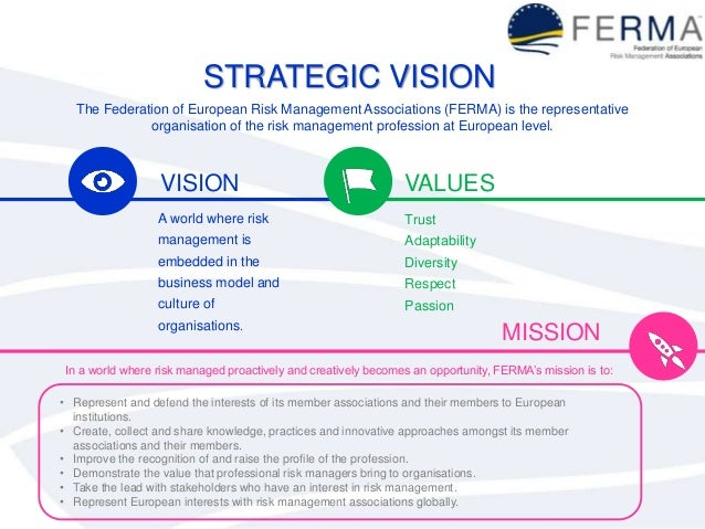 STRATEGIC VISION The Federation of European Risk Management Associations (FERMA) is the representative organisation of the...