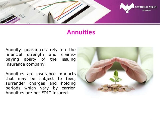 Annuities Annuity guarantees rely on the financial strength and claims- paying ability of the issuing insurance company. A...