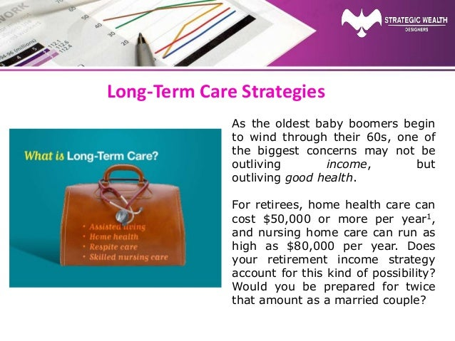 Long-Term Care Strategies As the oldest baby boomers begin to wind through their 60s, one of the biggest concerns may not ...