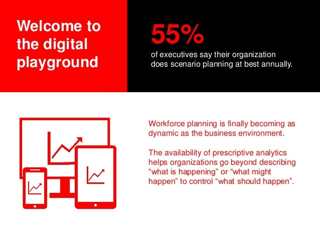 Welcome to the digital playground 55% of executives say their organization does scenario planning at best annually. Workfo...