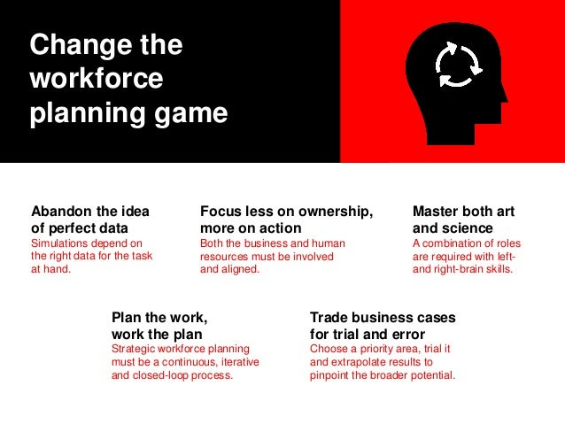 Change the workforce planning game Abandon the idea of perfect data Simulations depend on the right data for the task at h...