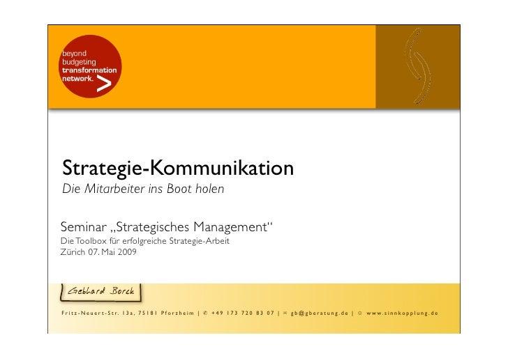 """Strategie-Kommunikation Die Mitarbeiter ins Boot holen  Seminar """"Strategisches Management"""" Die Toolbox für erfolgreiche St..."""