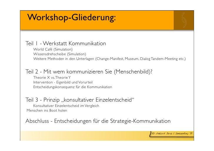Workshop-Gliederung:  Teil 1 - Werkstatt Kommunikation      World Café (Simulation)      Wissensdrehscheibe (Simulation)  ...