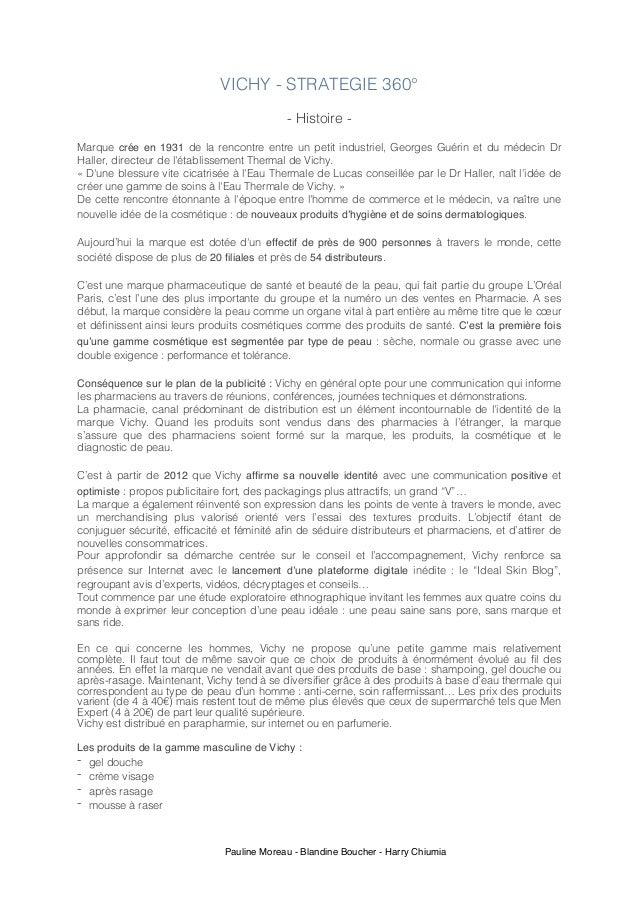 Pauline Moreau - Blandine Boucher - Harry Chiumia VICHY - STRATEGIE 360° - Histoire - Marque crée en 1931 de la rencontre ...