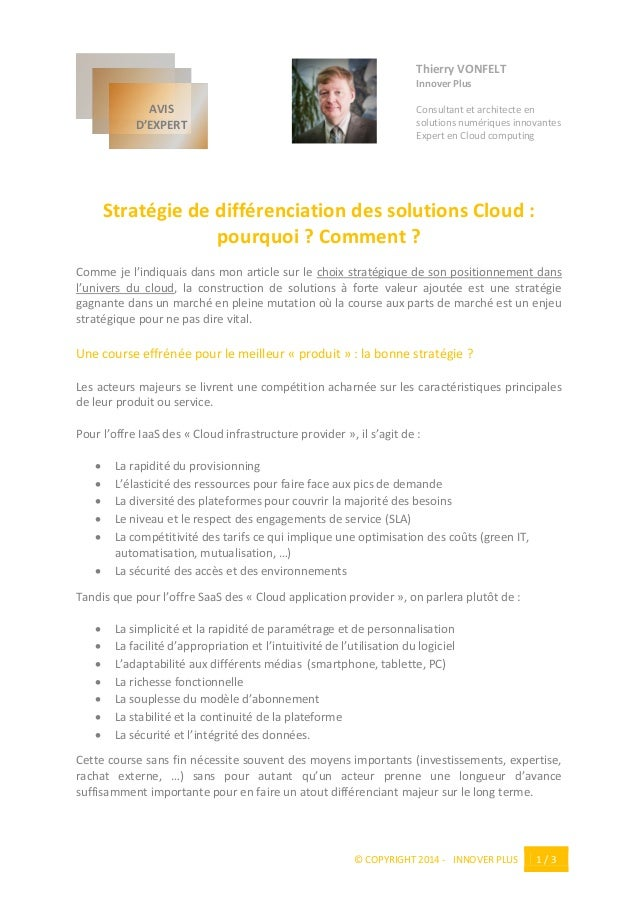 © COPYRIGHT 2014 - INNOVER PLUS 1 / 3 Thierry VONFELT Innover Plus Consultant et architecte en solutions numériques innova...