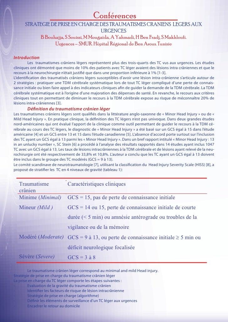 Conférences      STRATEGIE DE PRISE EN CHARGE DES TRAUMATISMES CRANIENS LEGERS AUX                                        ...