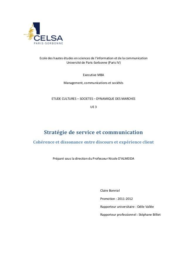 Ecole des hautes études en sciences de l'information et de la communication                      Université de Paris-Sorbo...
